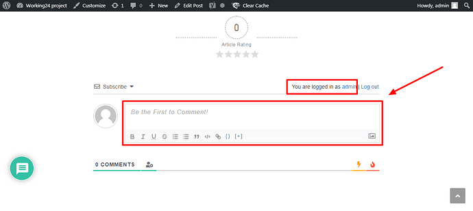khung comment sau khi login