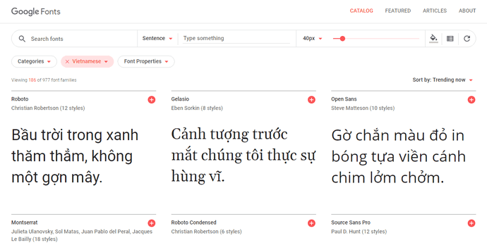 Chọn Google Font